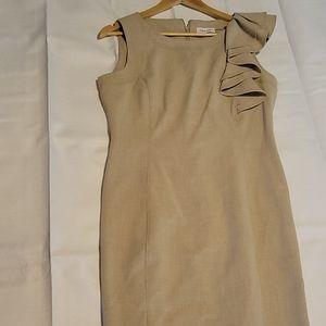 Calvin Klein Tan Ruffle shoulder sleeveless dress